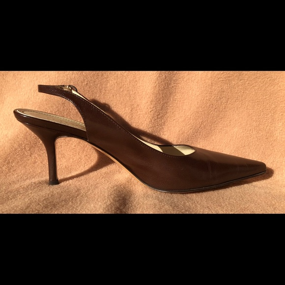 772562fa7c Coach Shoes | Made In Italy Slingback Brown Leather Pumps | Poshmark
